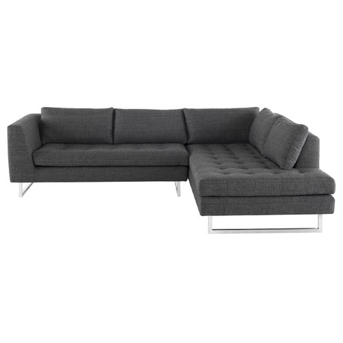 Janis Dark Grey Fabric Tufted Sectional Sofa 105""