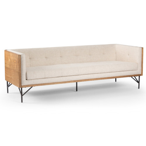 Holden Mid Century Exposed Wood Frame Sofa