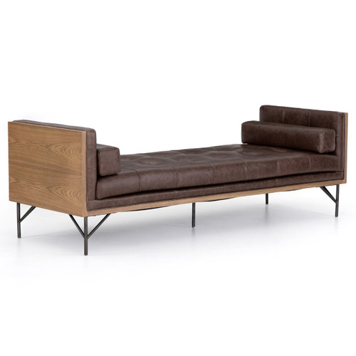 Holden Mid Century Wood Frame Leather Daybed Chaise