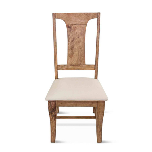 French Farmhouse Wooden Dining Chair w/ Upholstered Seat