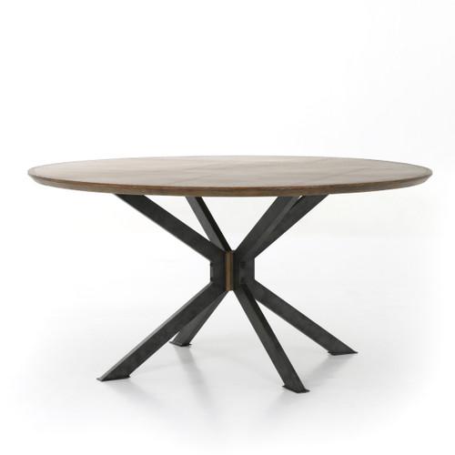 "Industrial Spider Leg Brass Clad Round Dining Table 60"",CIMP-168"