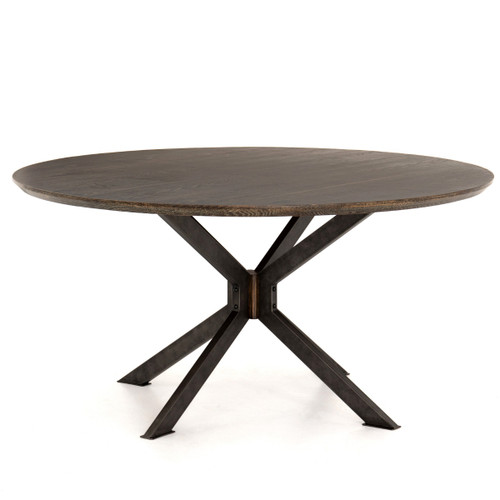 """Industrial Spider Leg Brown Oak Top Round Dining Table 60"""""""