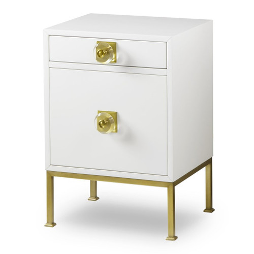 Formal White Lacquer + Gold Nightstand