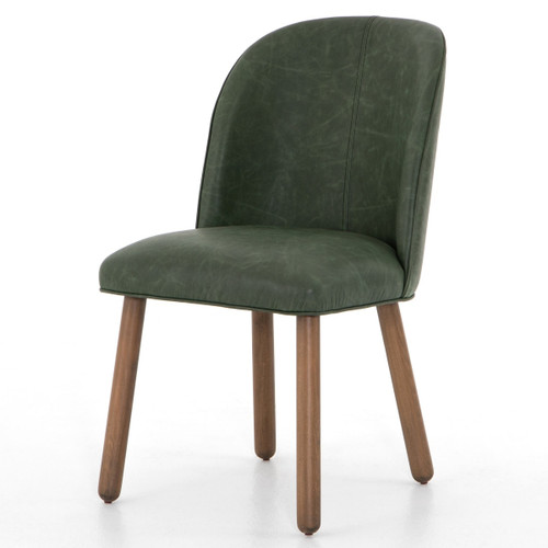 Aubree Modern Green Leather Dining Chair