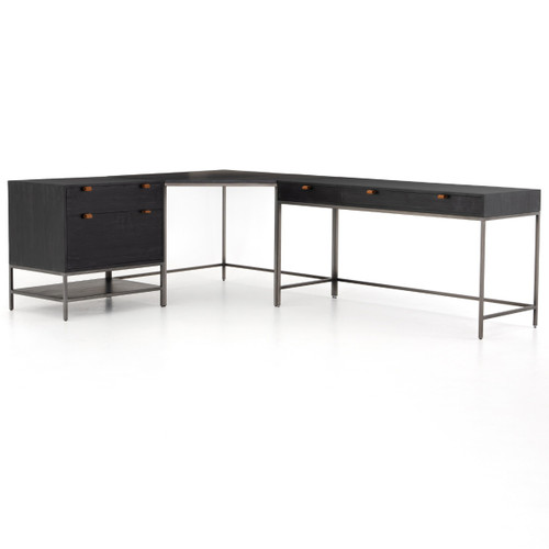 Fulton Trey Black Industrial Modular Desk with File Cabinet,UFUL-038A