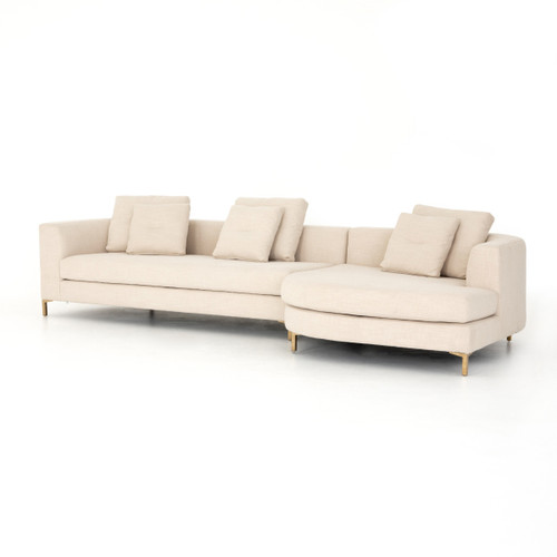"""Greer Ivory 2 Piece RAF Rounded Chaise Sectional Sofa 138"""""""