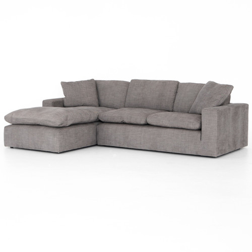 """Plume Grey Upholstered Block Arm LAF Large Sectional Sofa 136"""""""