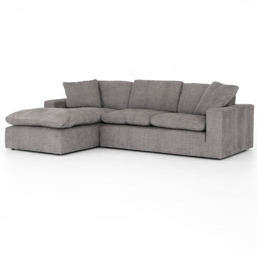 Plume Grey Upholstered Block Arm LAF 2-Piece Sectional Sofa 106""