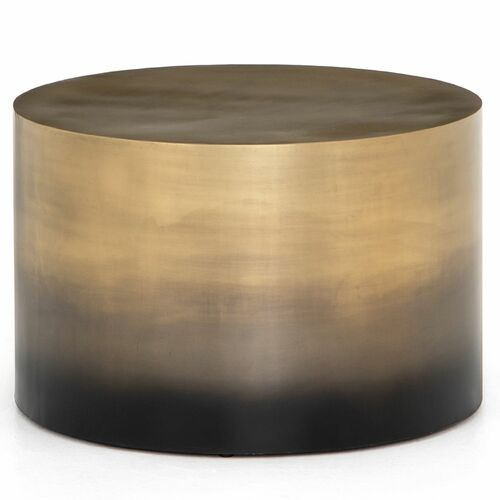 """Cameron Brass Ombre Bunching Drum Coffee Table 25"""""""