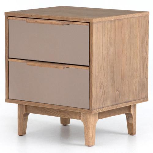 Finch Modern Oak Wood 2 Drawers Mirrored Nightstand