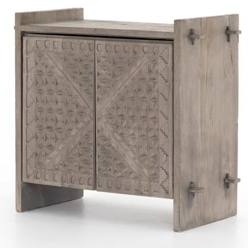 Mayan Old Wood Hand Carved 2 Door Small Sideboard-Grey