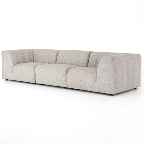 Gwen Channel Tufted Modular 3 Piece Outdoor Sectional Sofa