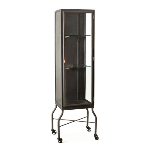 Steampunk Industrial Steel and Glass Medical Cabinet 18""