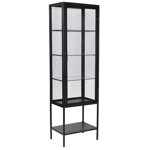 Carbon Industrial Antiqued Gunmetal Glass Display Cabinet