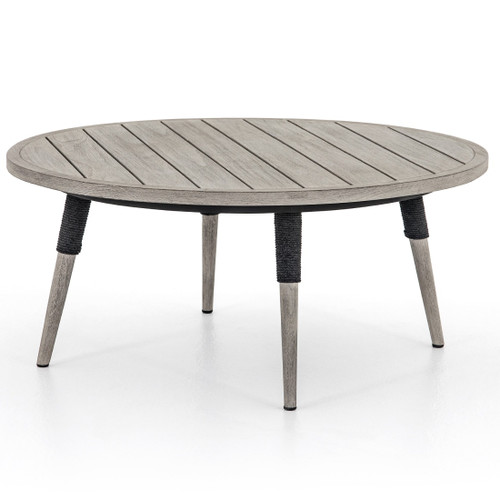 "Sana Grey Teak Top Round Outdoor Coffee Table 36"""