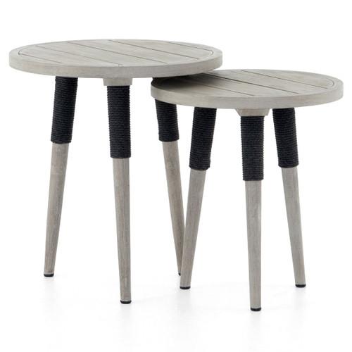 Sana Grey Teak Top Round Outdoor End Tables, Set Of 2