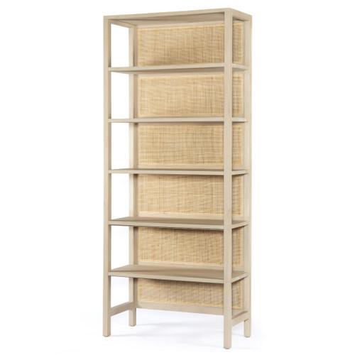 Caprice Woven Cane Back 5-Tier Large Bookshelf