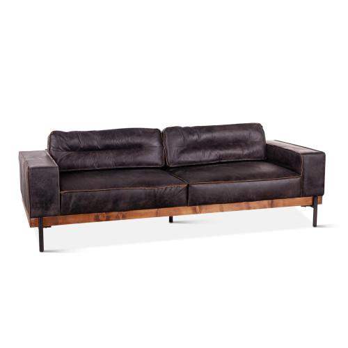 "Loft Industrial Ebony Leather Sofa 95"""