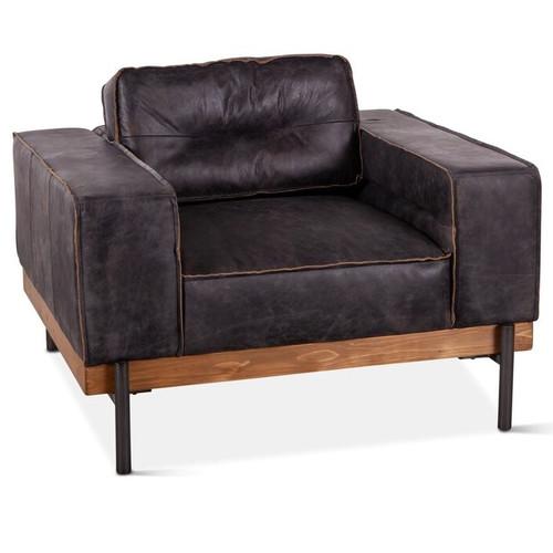 """Loft Industrial Ebony Leather Club Chair 42"""""""