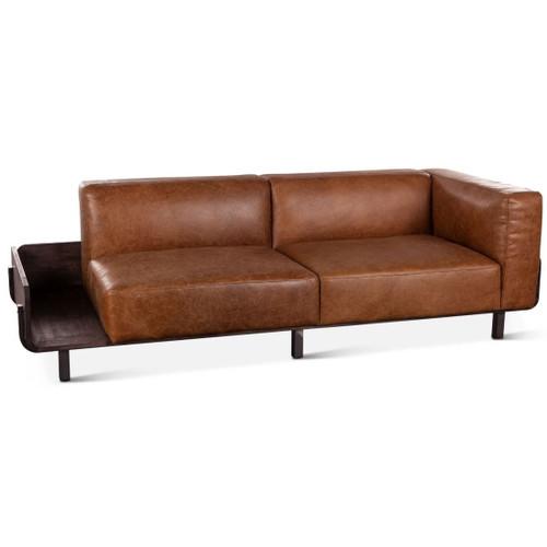 "Loft Retro Modern Brown/Tan Leather Sofa 90"""