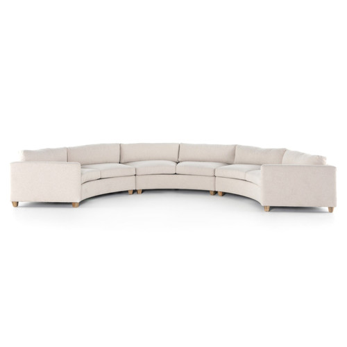 Heidi Ivory Curved Crescent 3-Pc Sectional Sofa