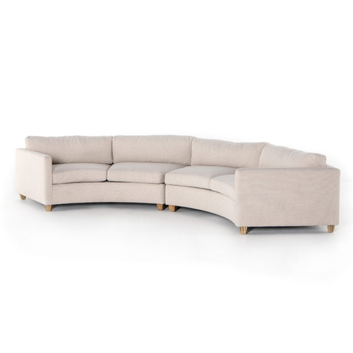 Heidi Ivory Curved Crescent 2-Pc Sectional Sofa