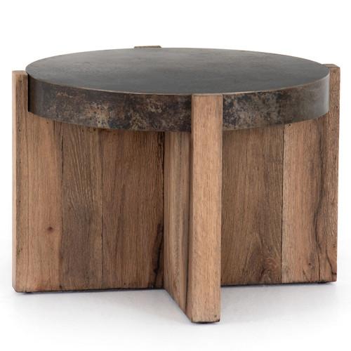 "Bingham Rustic Oak + Iron Round End Table 26"""