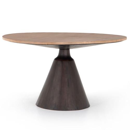 "Bronx Light Brushed Parawood Round Pedestal Dining Table 54"""