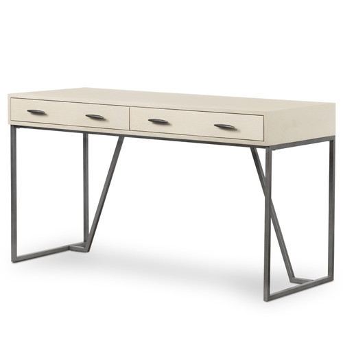 Hollywood Modern Shagreen Brushed Gunmetal 2 Drawer Writing Desk