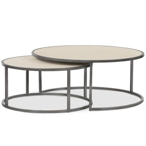 Hollywood Modern Shagreen Nesting Coffee Tables - Brushed Gunmetal
