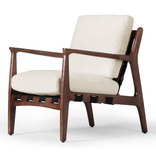 Silas Mid-Century Modern Osaka Blanco Fabric Arm Chair
