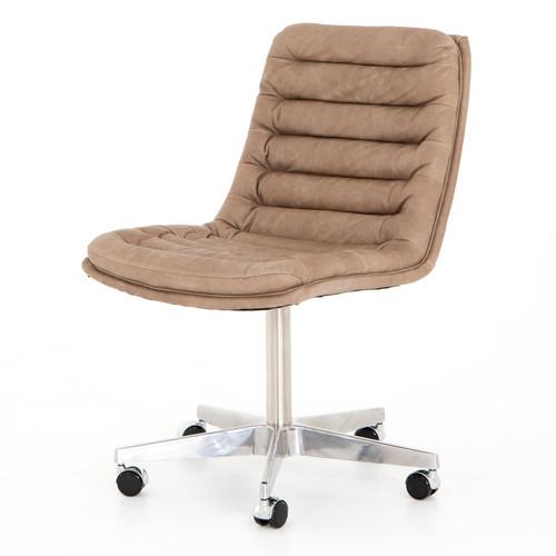 Malibu Natural Washed Mushroom Leather Office Desk Chair