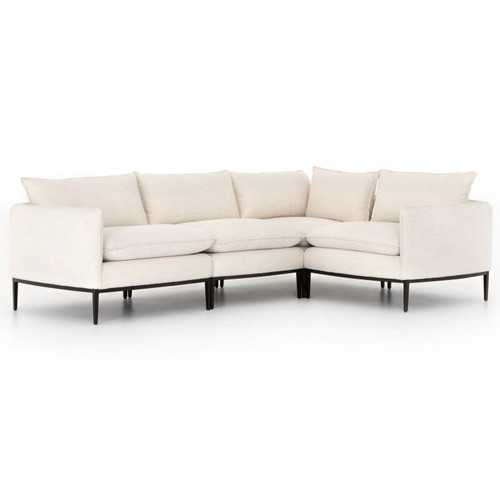 Donovan Modern Abode Ivory Upholstered Modular 4-Piece Sectional
