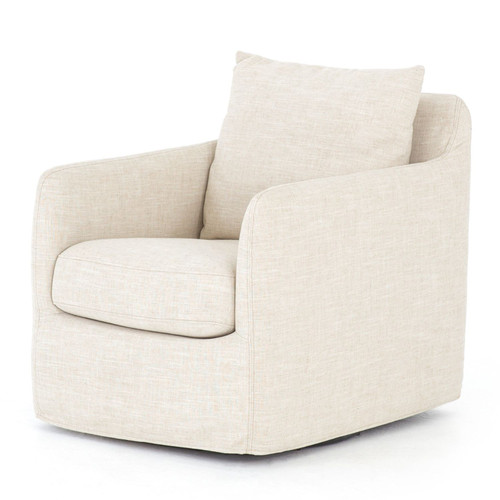 Banks Cambric Ivory Swivel Club Chair
