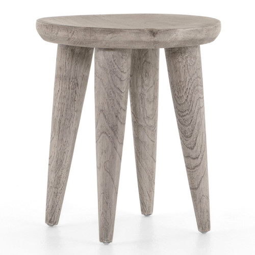 Zuri Round Weathered Grey Outdoor End Table