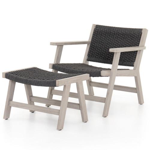 Delano Grey Teak Outdoor Rope Chair + Ottoman