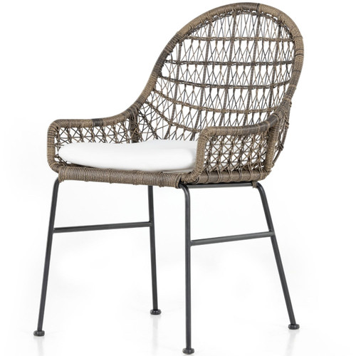 Bandera Distressed Grey Finish White Cushion Outdoor Woven Dining Chair