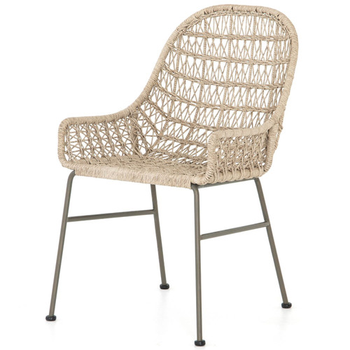 Bandera Vintage White Finish Outdoor Woven Dining Chair