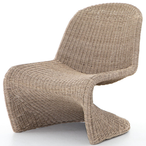 Portia Vintage White Woven Rope Outdoor Occasional S Chair