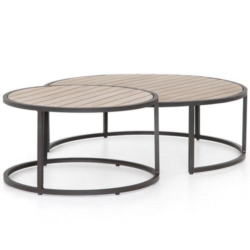 Alda Washed Brown Outdoor Nesting Table