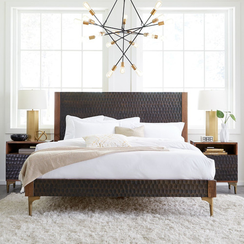 Anna Modern Carved Solid Wood Queen Bed
