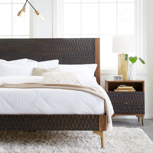 Anna Modern Carved Solid Wood King Bed