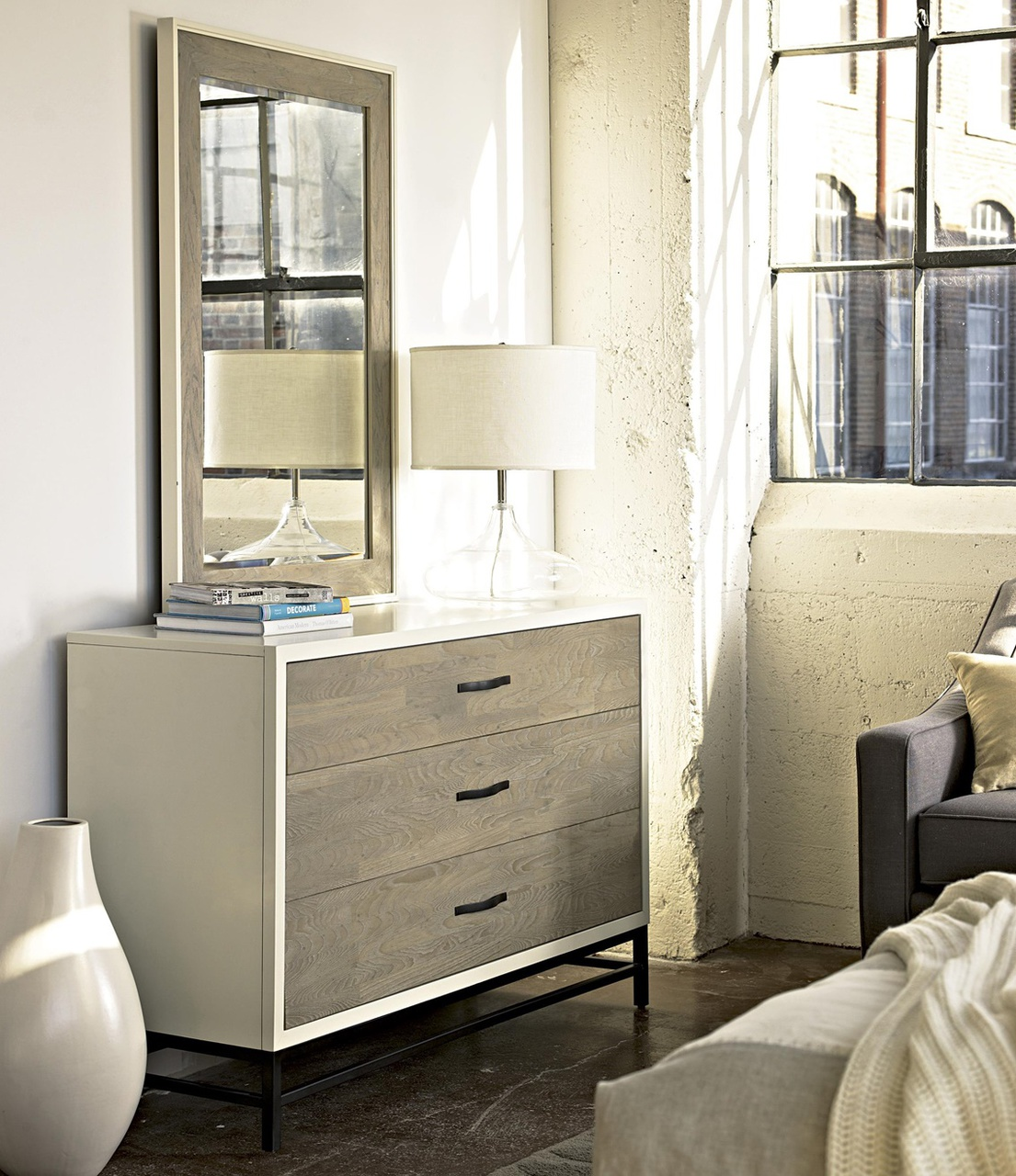 Modern Gray And White 3 Drawer Dresser Zin Home