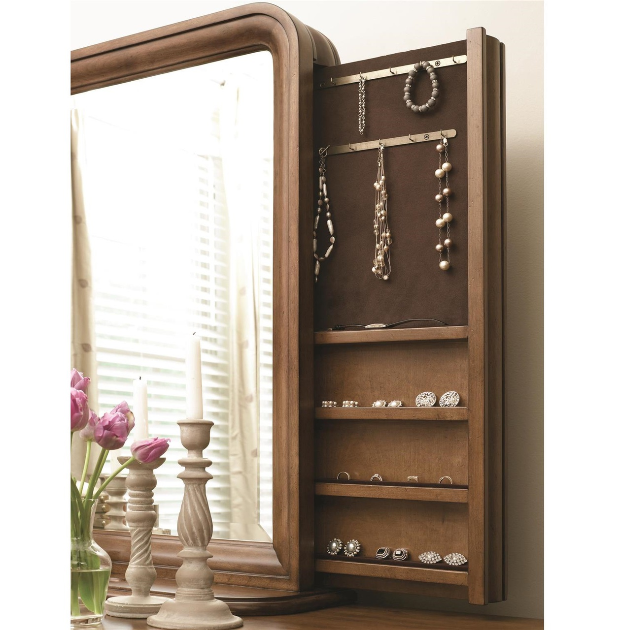 Louis Philippe Solid Wood Mirror With Jewelry Storage Cognac Zin Home