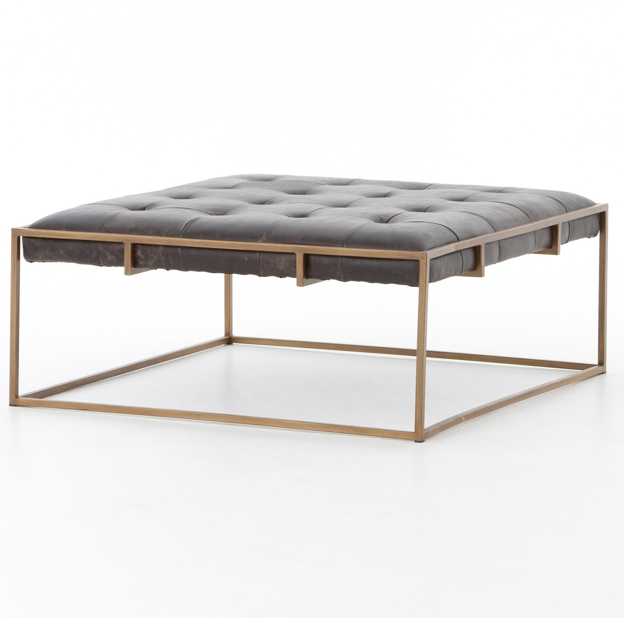 Oxford Tufted Black Leather Square Ottoman Coffee Table Zin Home