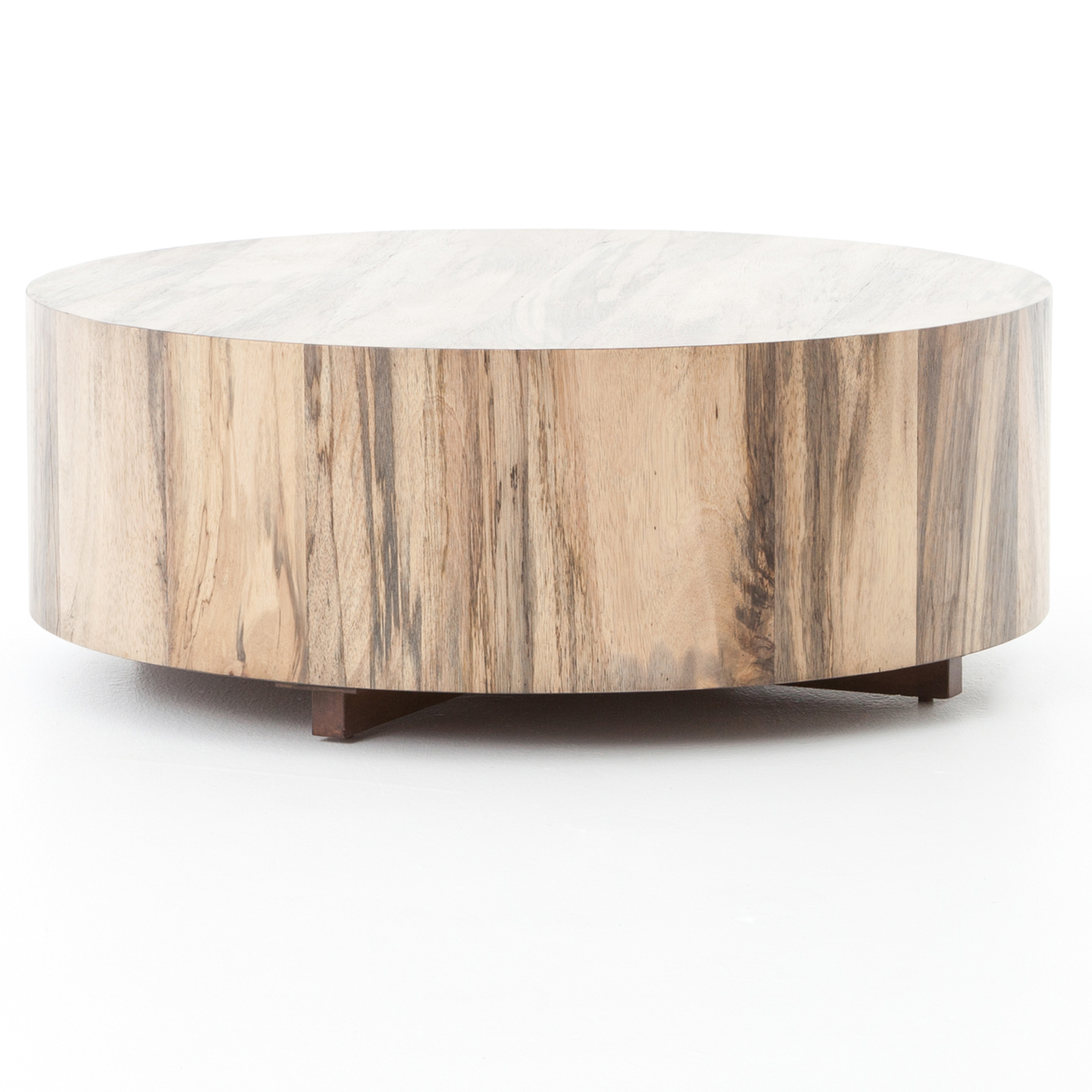 Hudson Spalted Rustic Wood Block Round Coffee Table Zin Home