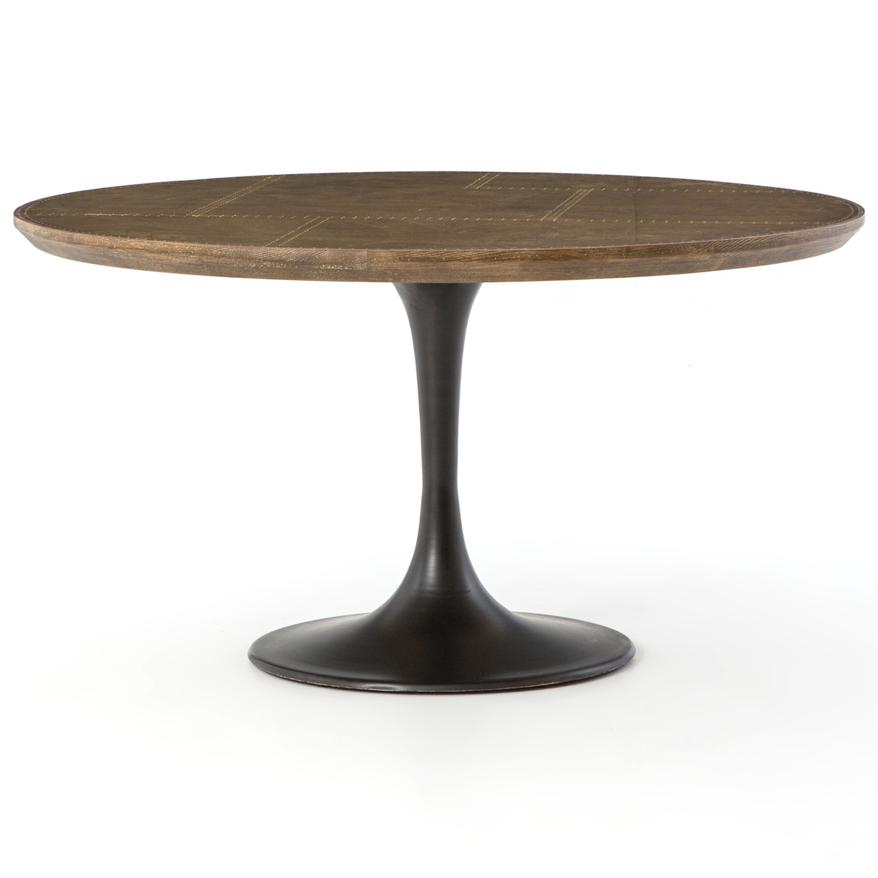 Aero Tulip Industrial Brass Clad Top Round Dining Table 55 Zin Home