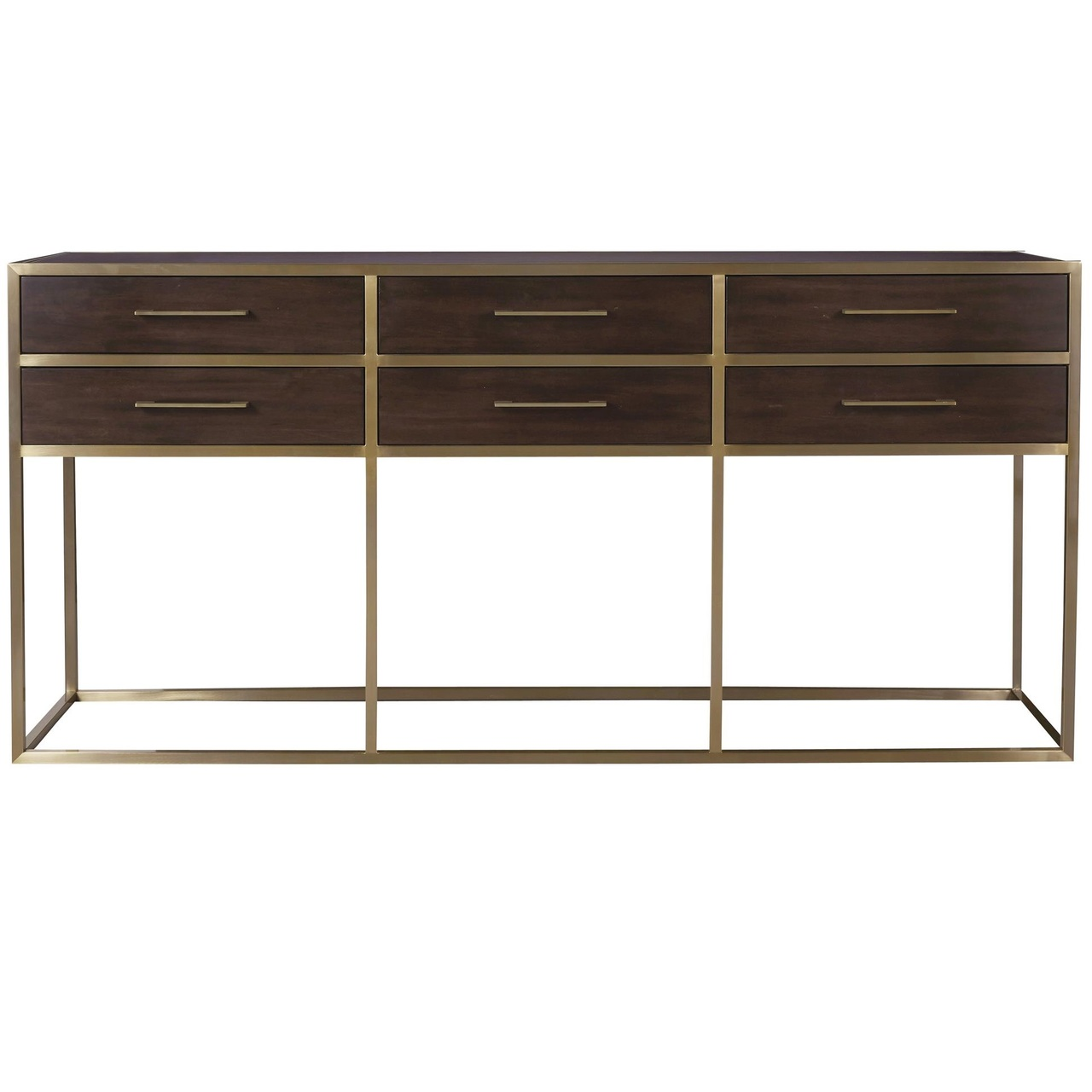 Gibson Modern Brushed Gold Mahogany 6 Drawers Console Table Zin Home