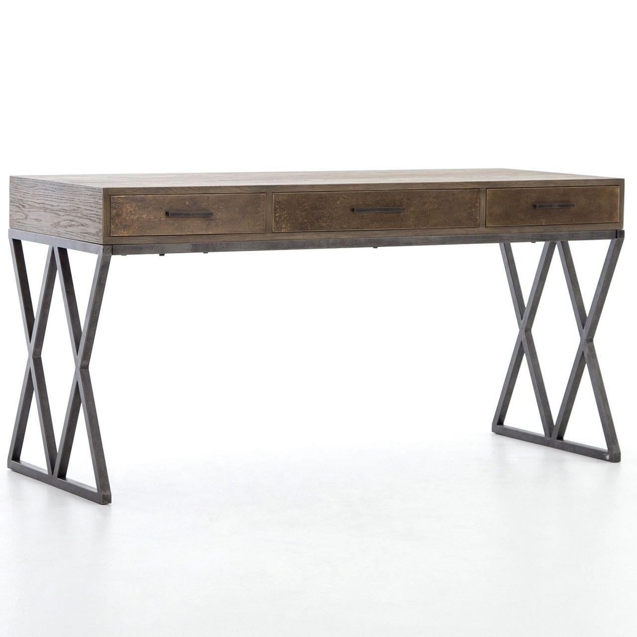 """Sampson Modern Industrial Oak Wood Desk 35"""""""