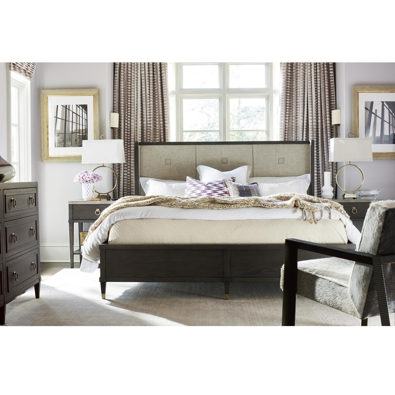 Soliloquy Wood Oatmeal Upholstered Wingback King Bed Zin Home